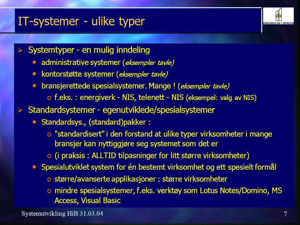 17 Systemutvikling HiB 31.03.04 Formula Prosjektstyring (Formula PS)  Standard prosjektstyringssystem rettet mot både offshore industri og landbaserte virksomheter / prosjektorganisasjoner  Verktøy for planlegging og oppfølging av (større) prosjekter  Utviklet av Formula OpenSoft (opprinnelig et utviklingsmiljø fra Computas og Norsk Data, senere en del av Merkantildata / Ementor) med bistand bl.a.