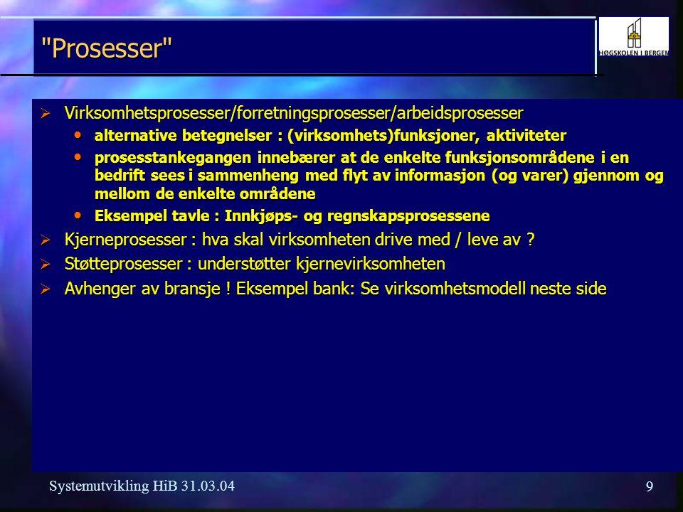 29 Systemutvikling HiB 31.03.04 Programvarehus/systemutvikling i Bergen  CSC - Computer Systems Corporation  OCS - Onsoft Computer Systems  Hands  SU Soft  Delfi Data  Cap (Gemini Ernst & Young)  Ementor  BDC  Ulriken Consulting  Utviklingsmiljøer i større virksomheter Statoil, Hydro, Telenor, DnB NOR Statoil, Hydro, Telenor, DnB NOR Bergen kommune, Haukeland sykehus Bergen kommune, Haukeland sykehus  + mange mindre miljøer
