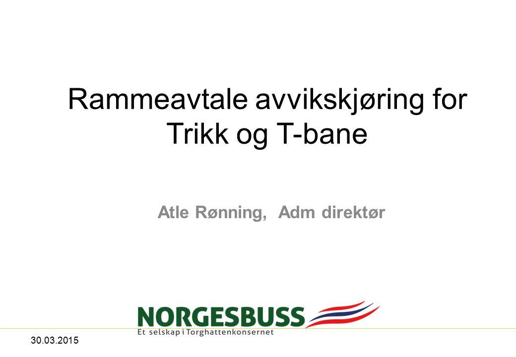 Rammeavtale avvikskjøring for Trikk og T-bane Atle Rønning, Adm direktør 30.03.2015