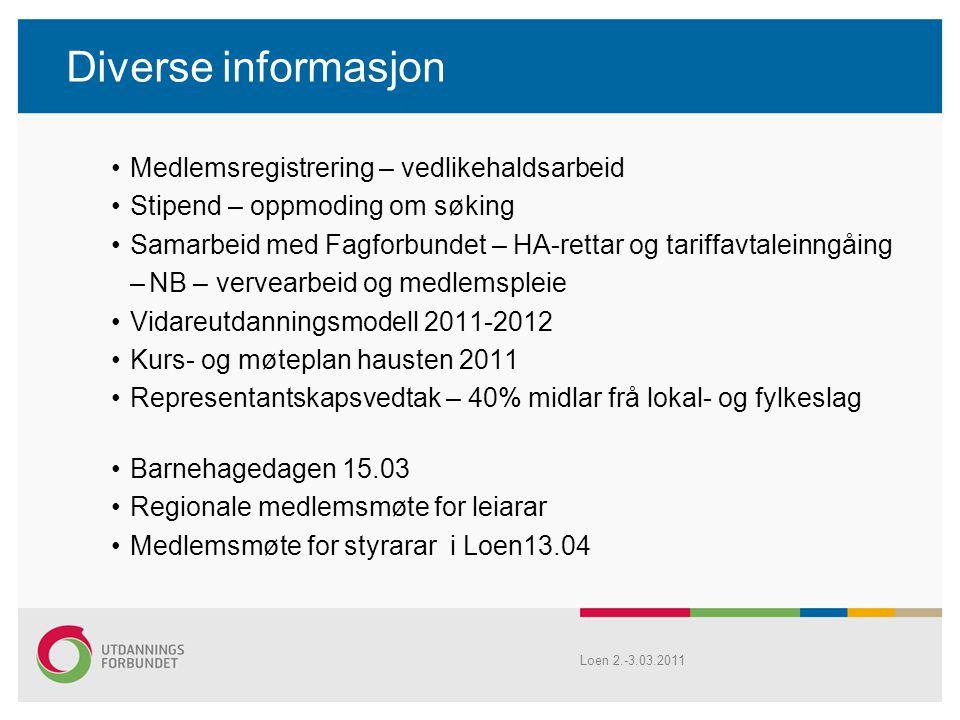 Diverse informasjon Medlemsregistrering – vedlikehaldsarbeid Stipend – oppmoding om søking Samarbeid med Fagforbundet – HA-rettar og tariffavtaleinngå
