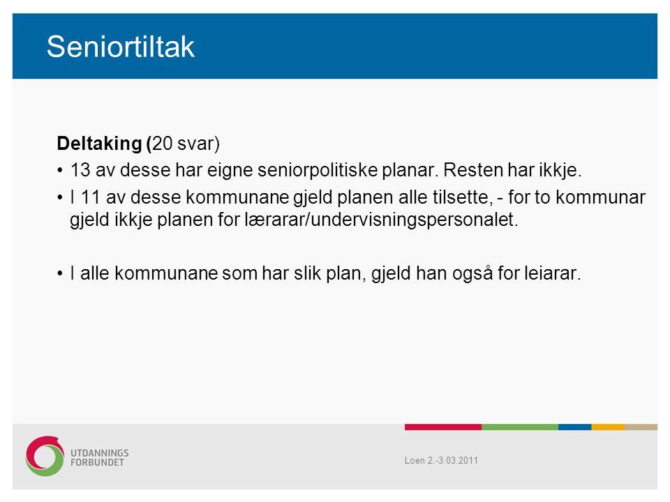 Seniortiltak Deltaking (20 svar) 13 av desse har eigne seniorpolitiske planar.