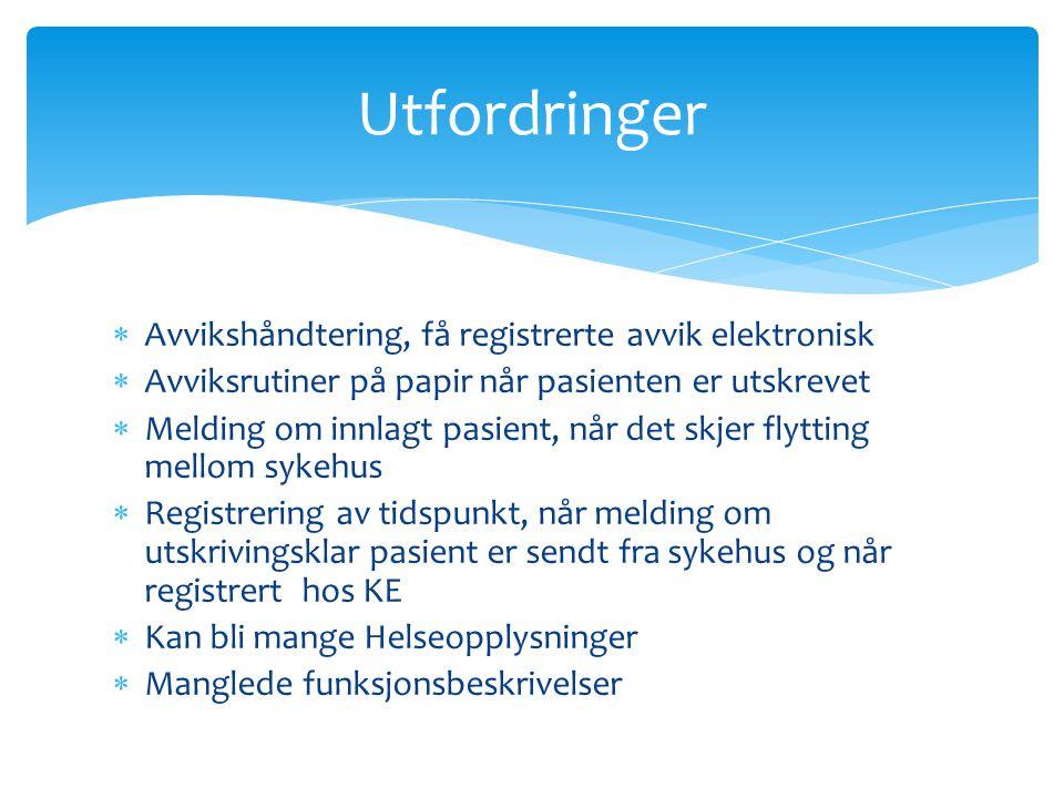  Avvikshåndtering, få registrerte avvik elektronisk  Avviksrutiner på papir når pasienten er utskrevet  Melding om innlagt pasient, når det skjer f