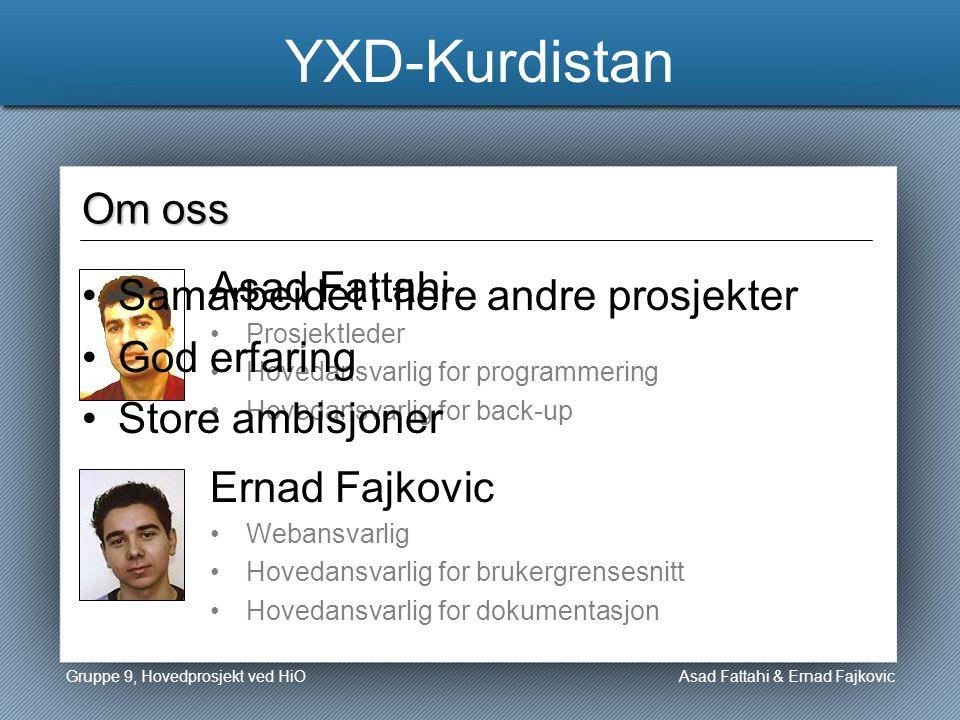 YXD-Kurdistan Asad Fattahi Asad Fattahi & Ernad Fajkovic Om oss Ernad Fajkovic Prosjektleder Hovedansvarlig for programmering Hovedansvarlig for back-