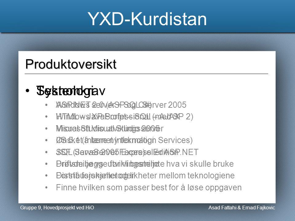 YXD-Kurdistan Asad Fattahi & Ernad Fajkovic Produktoversikt Teknologi ASP.NET 2.0 (ASP og C#) HTML – JavaScript – SQL – AJAX Microsoft Visual Studio 2