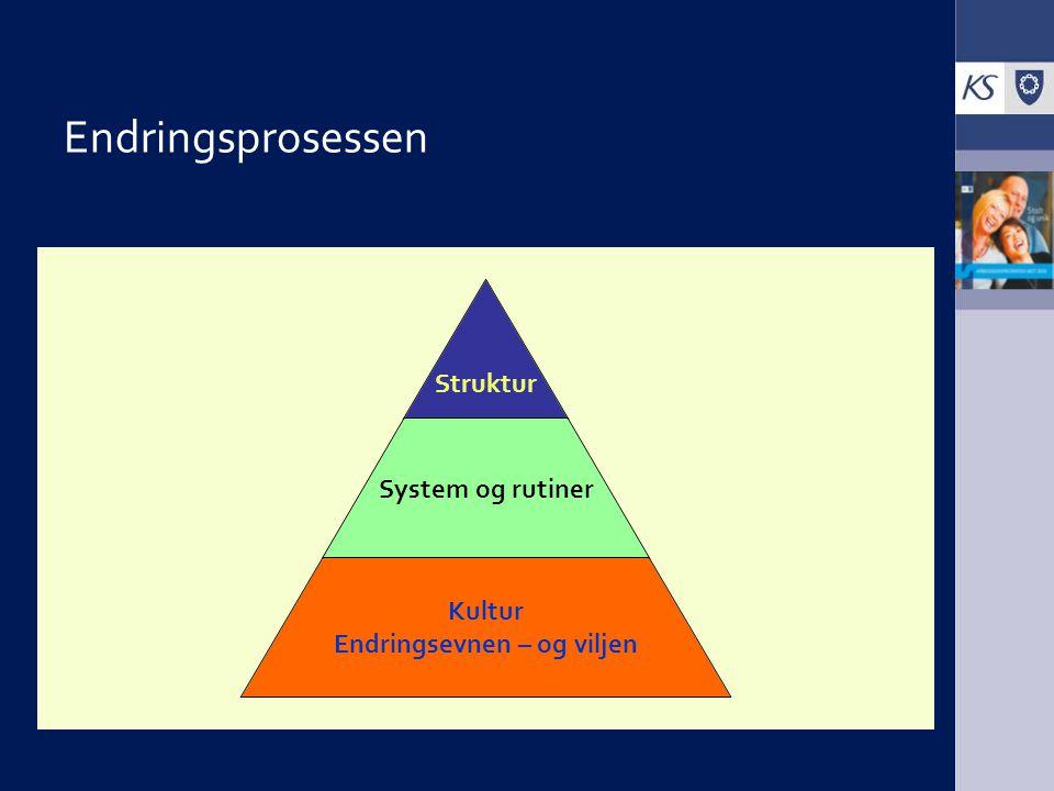 Endringsprosessen Struktur System og rutiner Kultur Endringsevnen – og viljen