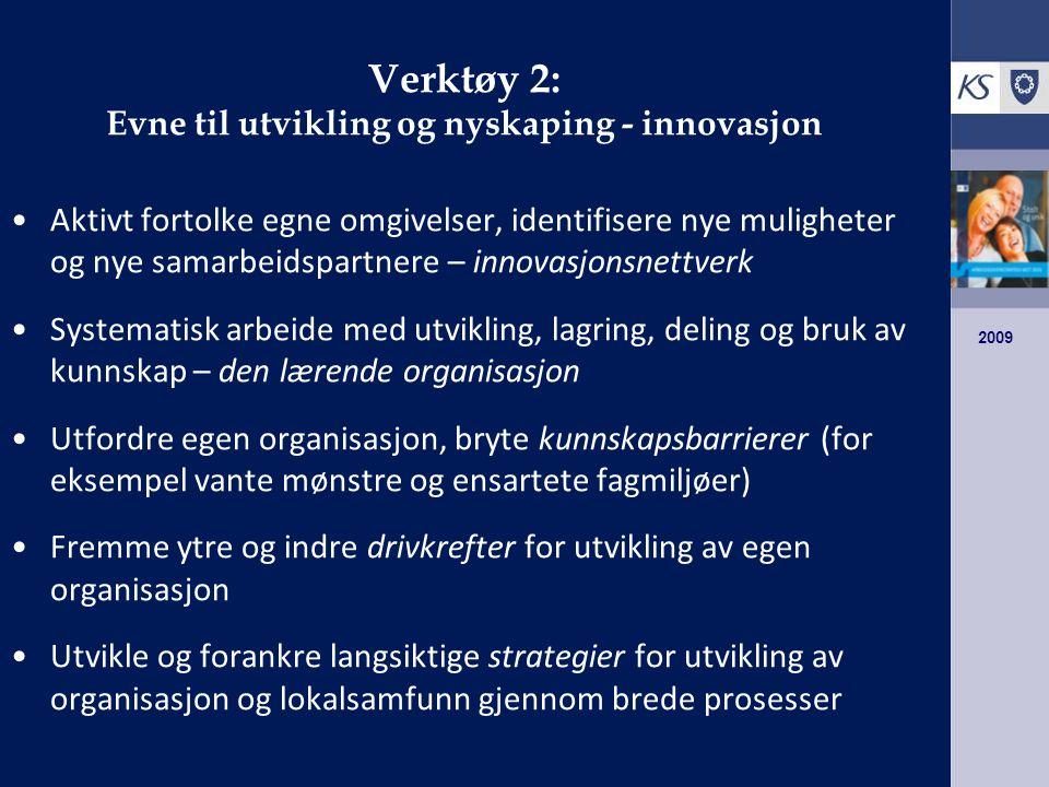 2009 Verktøy 2: Evne til utvikling og nyskaping - innovasjon Aktivt fortolke egne omgivelser, identifisere nye muligheter og nye samarbeidspartnere – innovasjonsnettverk Systematisk arbeide med utvikling, lagring, deling og bruk av kunnskap – den lærende organisasjon Utfordre egen organisasjon, bryte kunnskapsbarrierer (for eksempel vante mønstre og ensartete fagmiljøer) Fremme ytre og indre drivkrefter for utvikling av egen organisasjon Utvikle og forankre langsiktige strategier for utvikling av organisasjon og lokalsamfunn gjennom brede prosesser