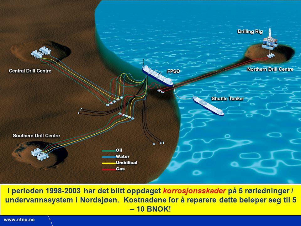 8 I perioden 1998-2003 har det blitt oppdaget korrosjonsskader på 5 rørledninger / undervannssystem i Nordsjøen.