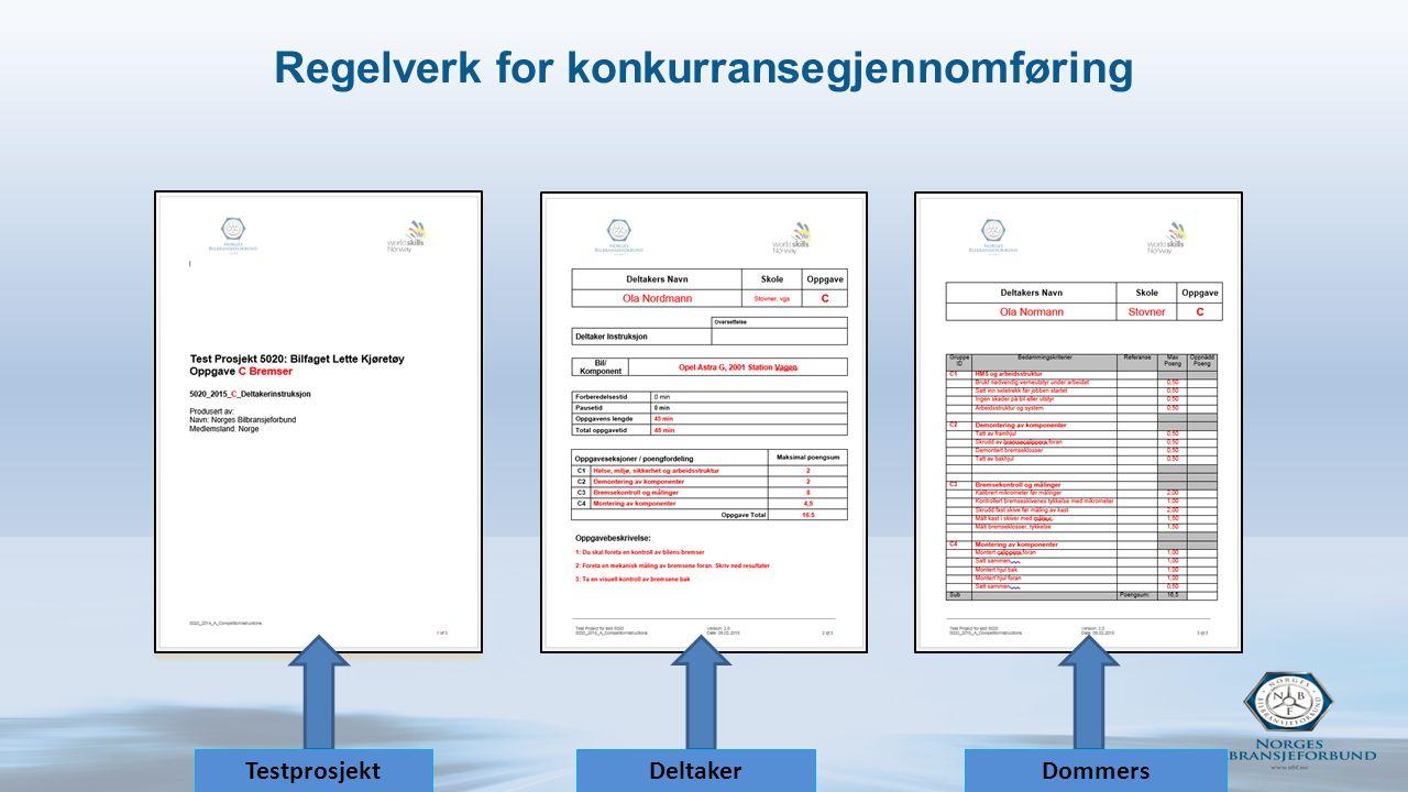 Regelverk for konkurransegjennomføring TestprosjektDeltaker instruksjon Dommers bedømmingsskjema