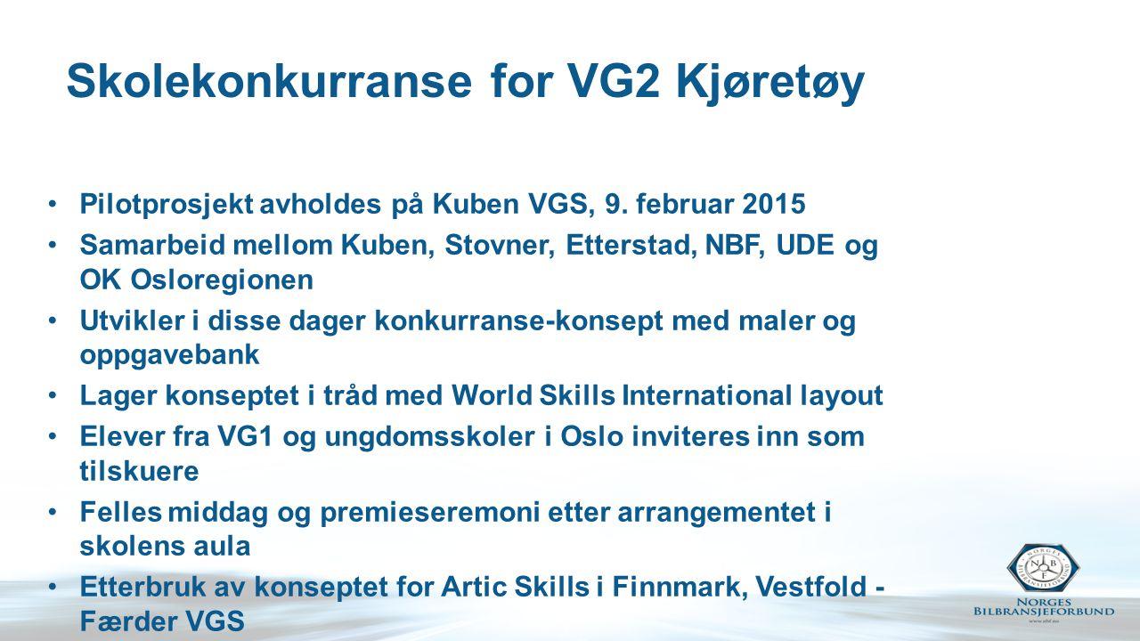 Skolekonkurranse for VG2 Kjøretøy Pilotprosjekt avholdes på Kuben VGS, 9. februar 2015 Samarbeid mellom Kuben, Stovner, Etterstad, NBF, UDE og OK Oslo