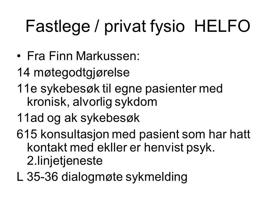 Fastlege / privat fysio HELFO Fra Finn Markussen: 14 møtegodtgjørelse 11e sykebesøk til egne pasienter med kronisk, alvorlig sykdom 11ad og ak sykebesøk 615 konsultasjon med pasient som har hatt kontakt med ekller er henvist psyk.
