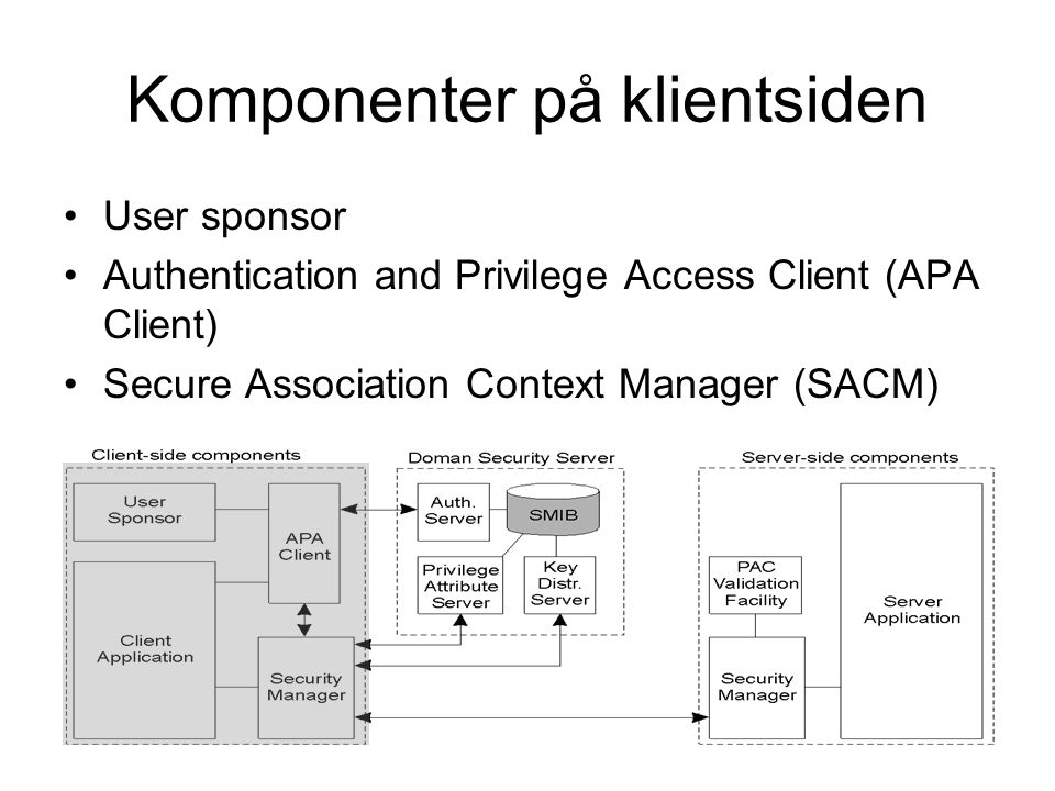 Komponenter på klientsiden User sponsor Authentication and Privilege Access Client (APA Client) Secure Association Context Manager (SACM)
