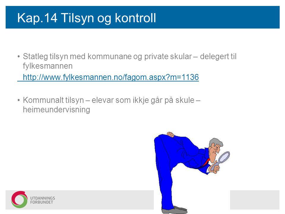 Kap.14 Tilsyn og kontroll Statleg tilsyn med kommunane og private skular – delegert til fylkesmannen http://www.fylkesmannen.no/fagom.aspx?m=1136 Komm