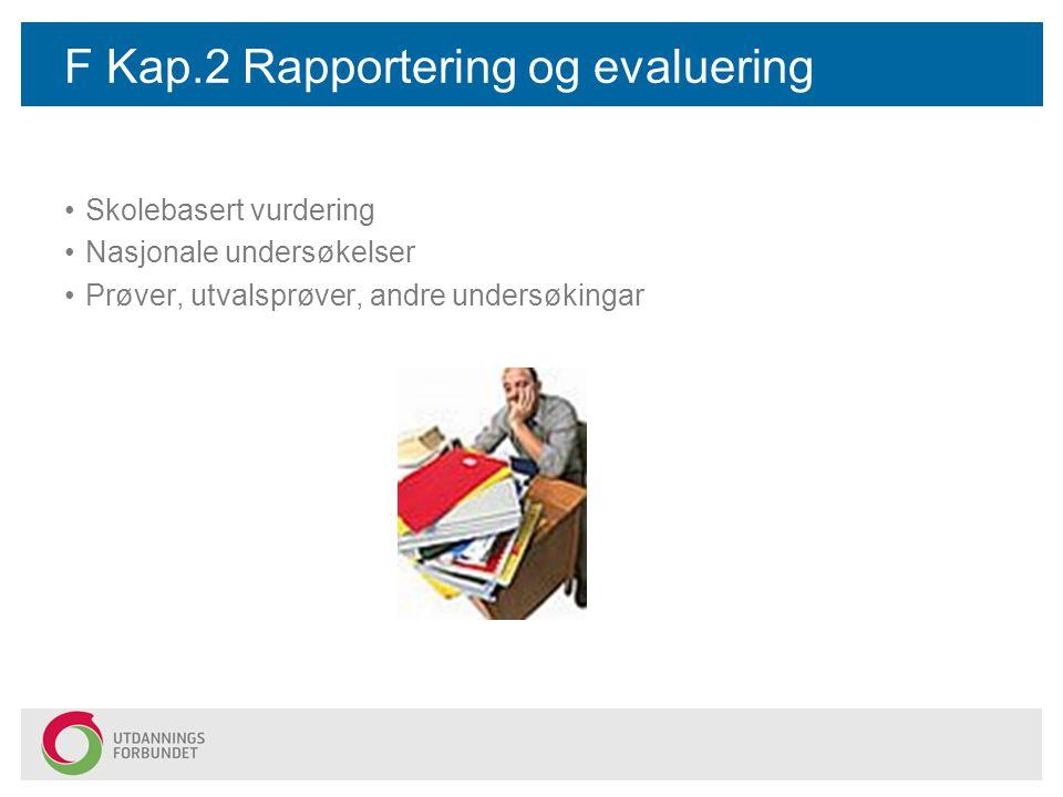 F Kap.2 Rapportering og evaluering Skolebasert vurdering Nasjonale undersøkelser Prøver, utvalsprøver, andre undersøkingar