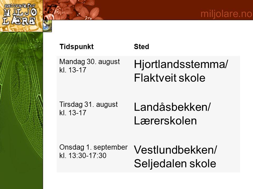 TidspunktSted Mandag 30. august kl. 13-17 Hjortlandsstemma/ Flaktveit skole Tirsdag 31.
