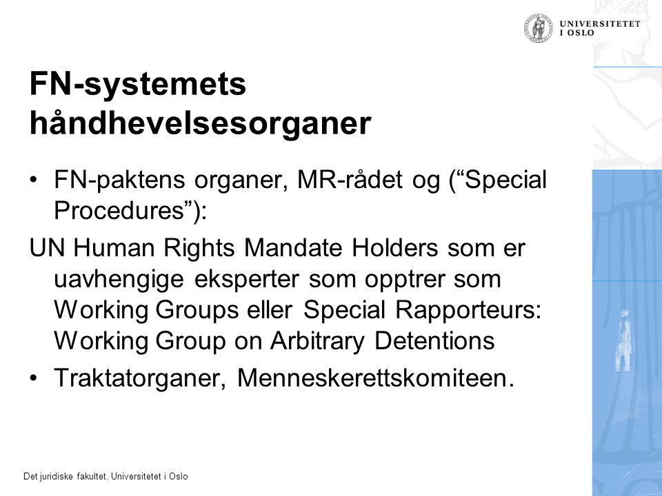"""Det juridiske fakultet, Universitetet i Oslo FN-systemets håndhevelsesorganer FN-paktens organer, MR-rådet og (""""Special Procedures""""): UN Human Rights"""