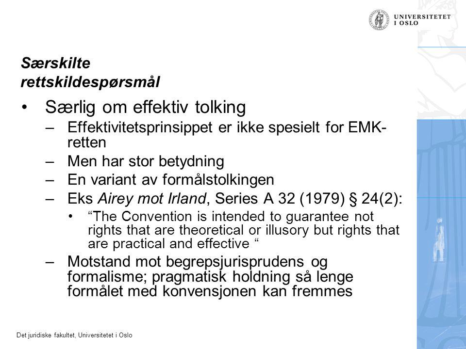 Det juridiske fakultet, Universitetet i Oslo Særskilte rettskildespørsmål Særlig om effektiv tolking –Effektivitetsprinsippet er ikke spesielt for EMK
