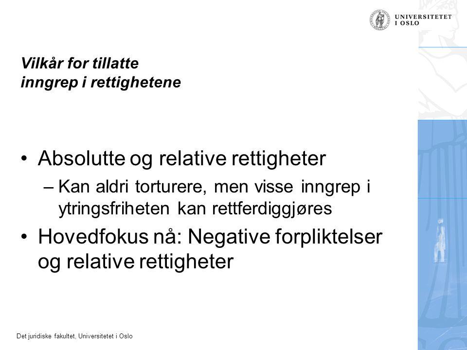 Det juridiske fakultet, Universitetet i Oslo Vilkår for tillatte inngrep i rettighetene Absolutte og relative rettigheter –Kan aldri torturere, men visse inngrep i ytringsfriheten kan rettferdiggjøres Hovedfokus nå: Negative forpliktelser og relative rettigheter