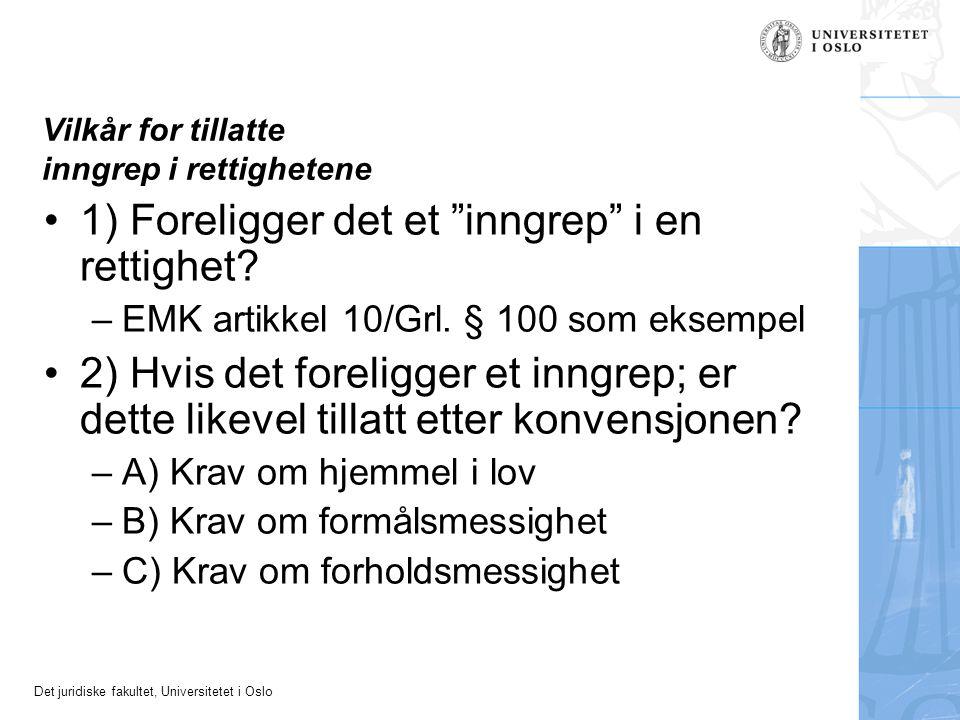"""Det juridiske fakultet, Universitetet i Oslo Vilkår for tillatte inngrep i rettighetene 1) Foreligger det et """"inngrep"""" i en rettighet? –EMK artikkel 1"""