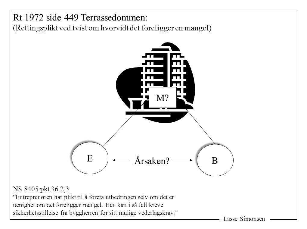 Lasse Simonsen Rt 1972 side 449 Terrassedommen: (Rettingsplikt ved tvist om hvorvidt det foreligger en mangel) E E B B M? Årsaken? NS 8405 pkt 36.2,3