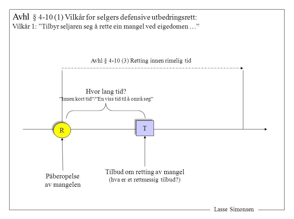 """Lasse Simonsen Avhl § 4-10 (1) Vilkår for selgers defensive utbedringsrett: Vilkår 1: """"Tilbyr seljaren seg å rette ein mangel ved eigedomen …"""" R R Påb"""
