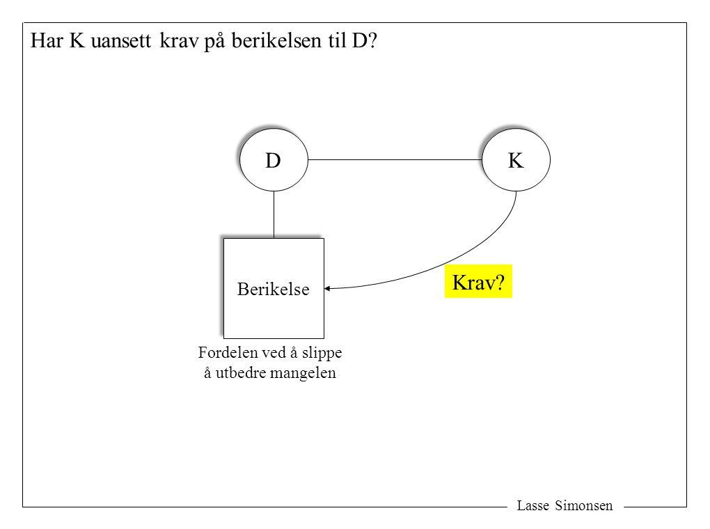 Lasse Simonsen Har K uansett krav på berikelsen til D? D D K K Berikelse Fordelen ved å slippe å utbedre mangelen Krav?