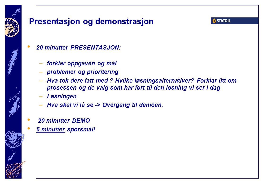 Presentasjon og demonstrasjon 20 minutter PRESENTASJON: –forklar oppgaven og mål –problemer og prioritering –Hva tok dere fatt med ? Hvilke løsningsal