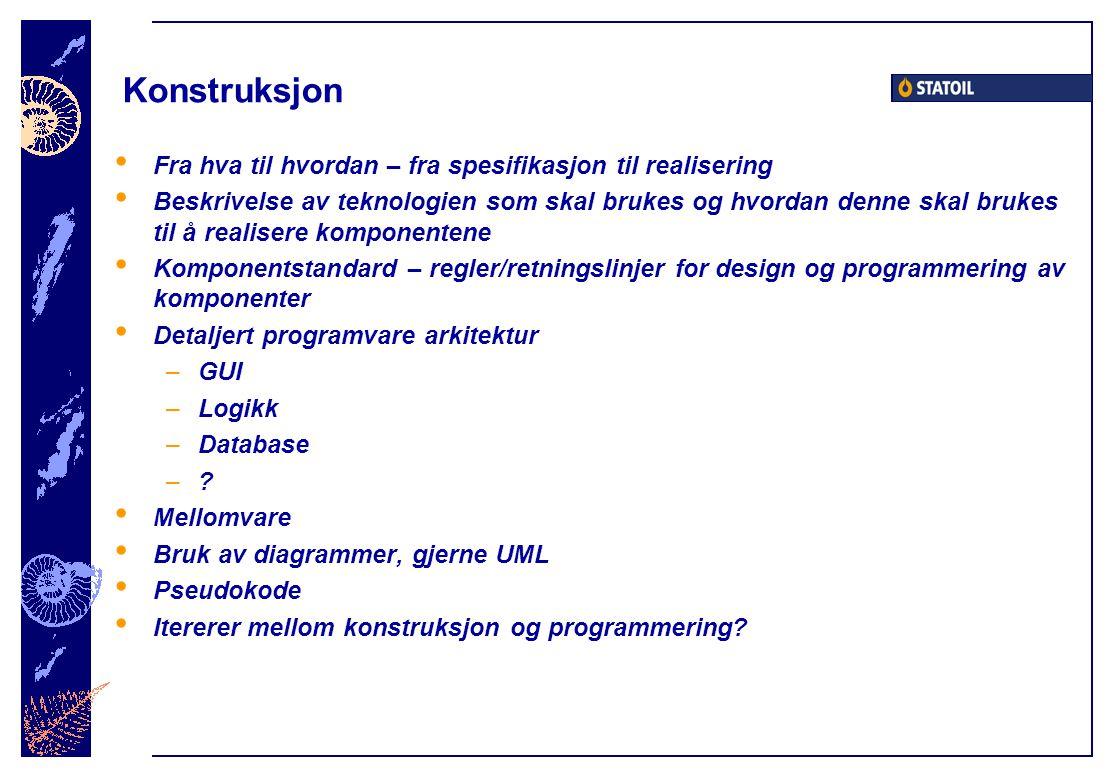 Konstruksjon Fra hva til hvordan – fra spesifikasjon til realisering Beskrivelse av teknologien som skal brukes og hvordan denne skal brukes til å rea