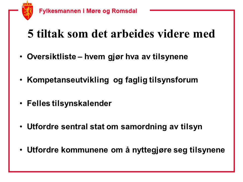 Fylkesmannen i Møre og Romsdal 5 tiltak som det arbeides videre med Oversiktliste – hvem gjør hva av tilsynene Kompetanseutvikling og faglig tilsynsforum Felles tilsynskalender Utfordre sentral stat om samordning av tilsyn Utfordre kommunene om å nyttegjøre seg tilsynene