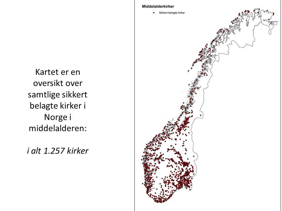 Kartet er en oversikt over samtlige sikkert belagte kirker i Norge i middelalderen: i alt 1.257 kirker