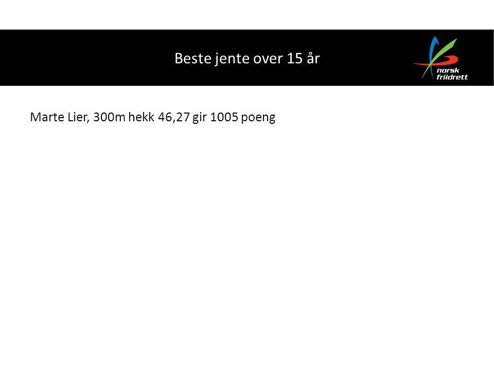 Beste jente over 15 år Marte Lier, 300m hekk 46,27 gir 1005 poeng