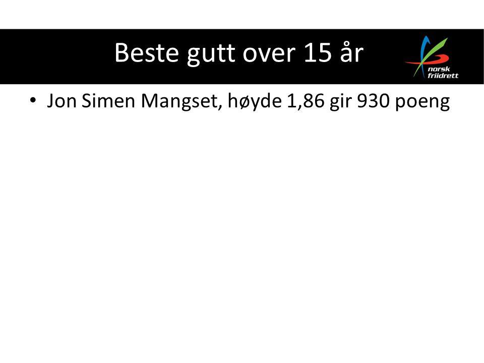 Beste gutt over 15 år Jon Simen Mangset, høyde 1,86 gir 930 poeng