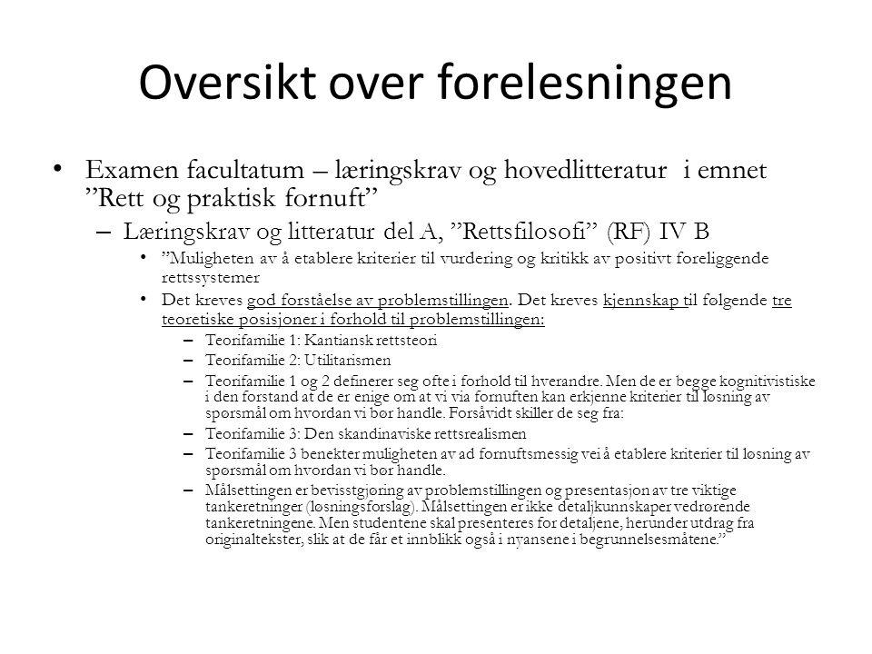Examen facultatum, rettsvitenskapelig variant Del A, punkt V: Jus Forelesning 5.