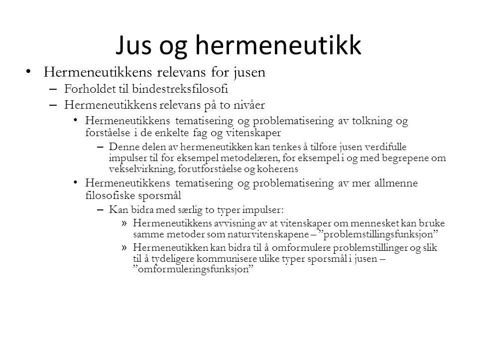 Jus og hermeneutikk Hermeneutikkens relevans for jusen – Forholdet til bindestreksfilosofi – Hermeneutikkens relevans på to nivåer Hermeneutikkens tem