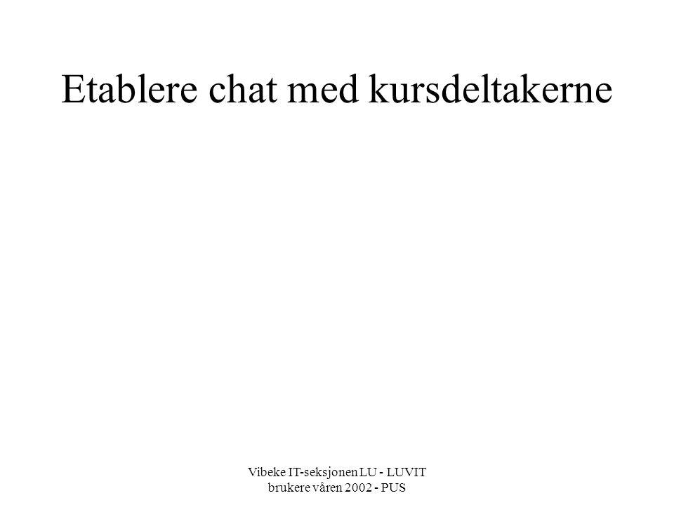 Vibeke IT-seksjonen LU - LUVIT brukere våren 2002 - PUS Etablere chat med kursdeltakerne