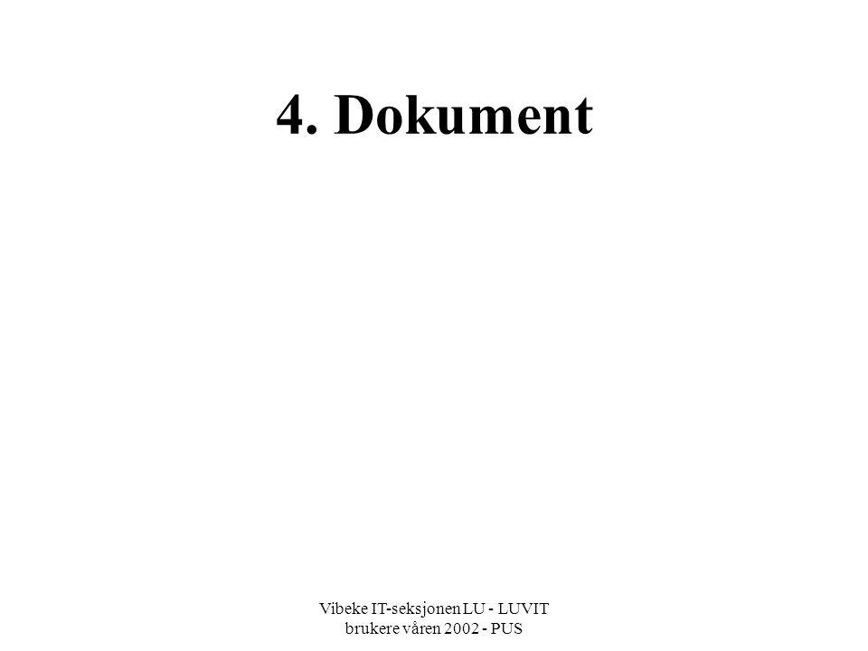 Vibeke IT-seksjonen LU - LUVIT brukere våren 2002 - PUS 4. Dokument