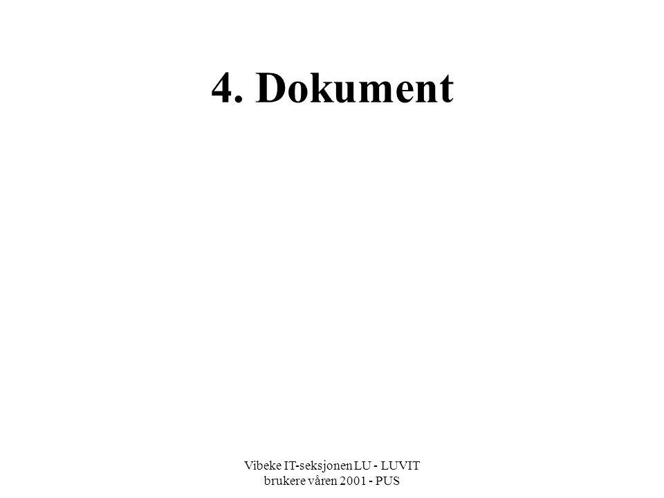 Vibeke IT-seksjonen LU - LUVIT brukere våren 2001 - PUS 4. Dokument
