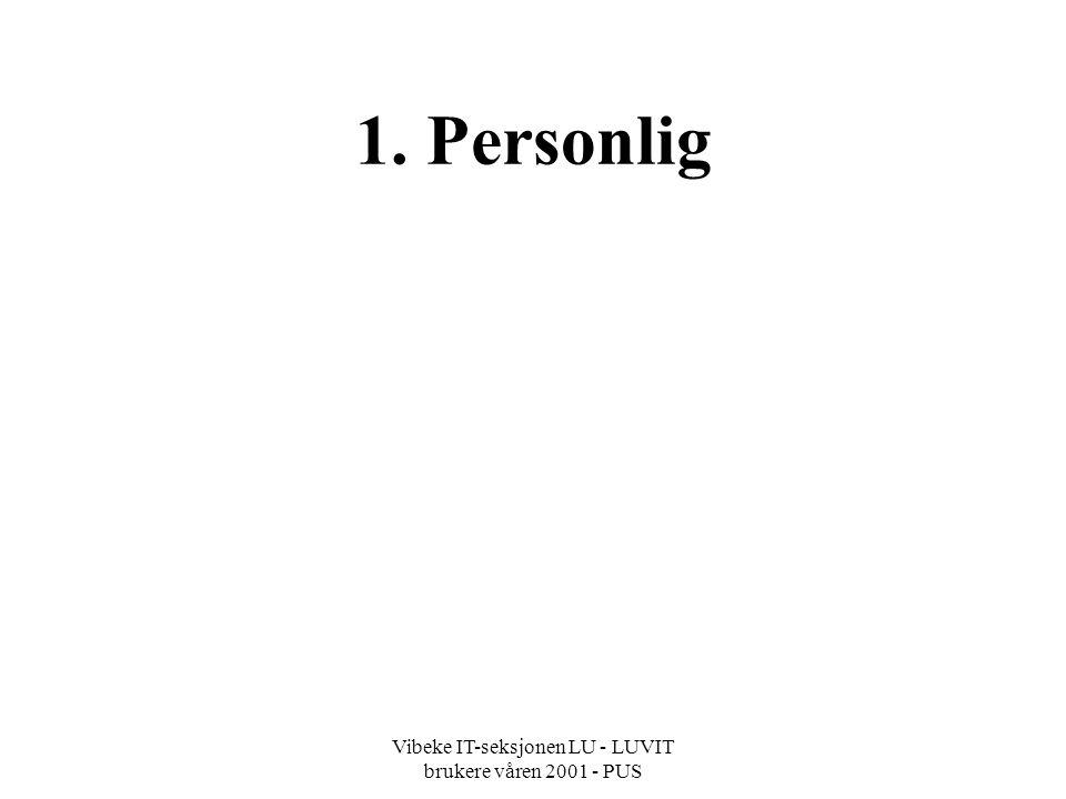 Vibeke IT-seksjonen LU - LUVIT brukere våren 2001 - PUS Endre passord personlig - brukerinnstillinger