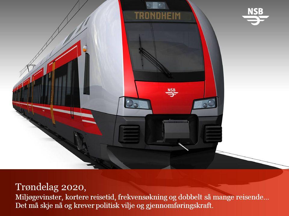 Trøndelag 2020, Miljøgevinster, kortere reisetid, frekvensøkning og dobbelt så mange reisende… Det må skje nå og krever politisk vilje og gjennomføringskraft.