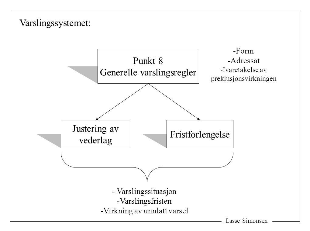 Lasse Simonsen Varslingssystemet: Punkt 8 Generelle varslingsregler Fristforlengelse Justering av vederlag -Form -Adressat -Ivaretakelse av preklusjonsvirkningen - Varslingssituasjon -Varslingsfristen -Virkning av unnlatt varsel