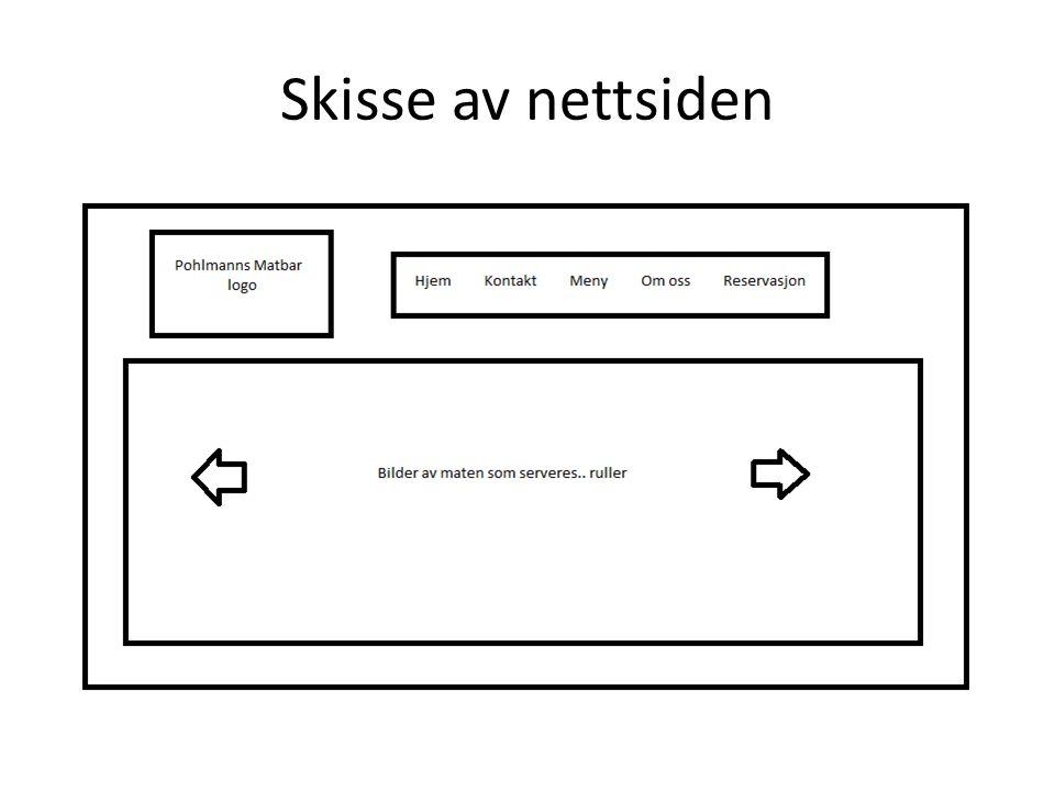 Skisse av nettsiden