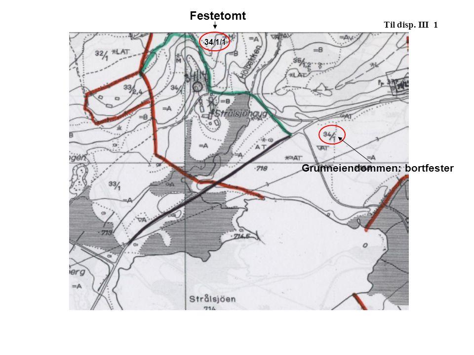 34/1/1 Festetomt Til disp. III 1 Grunneiendommen: bortfester
