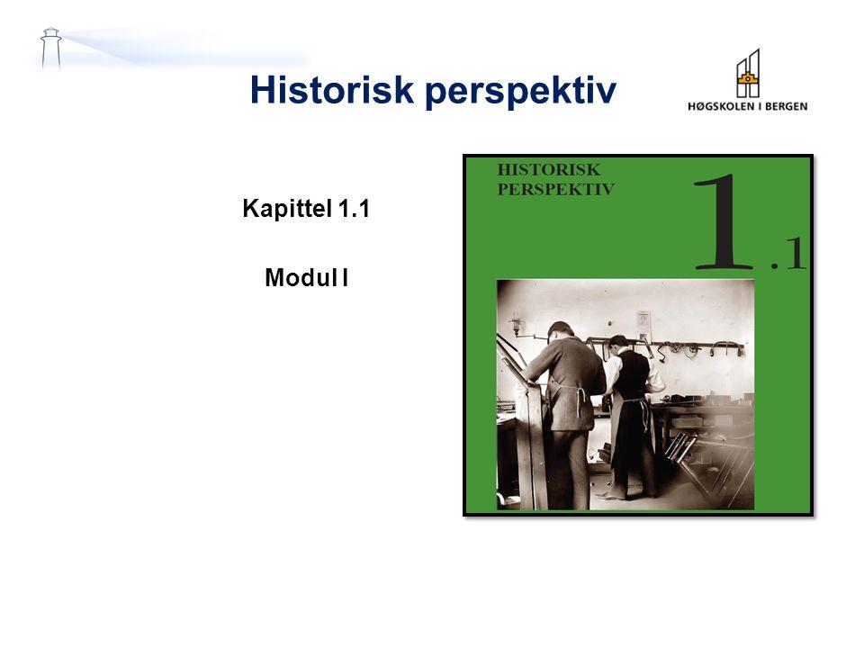 Historisk perspektiv Kapittel 1.1 Modul I
