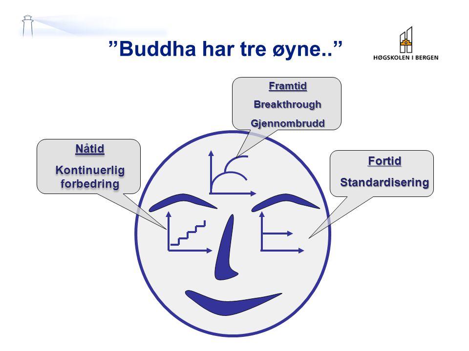 Buddha har tre øyne.. FortidStandardisering Nåtid Kontinuerlig forbedring Nåtid Kontinuerlig forbedring FramtidBreakthroughGjennombrudd