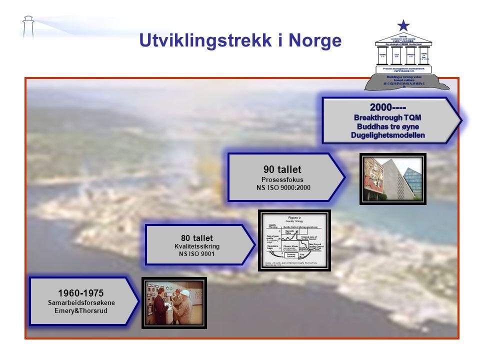 Utviklingstrekk i Norge 1960-1975 Samarbeidsforsøkene Emery&Thorsrud 1960-1975 Samarbeidsforsøkene Emery&Thorsrud 80 tallet Kvalitetssikring NS ISO 9001 90 tallet Prosessfokus NS ISO 9000:2000