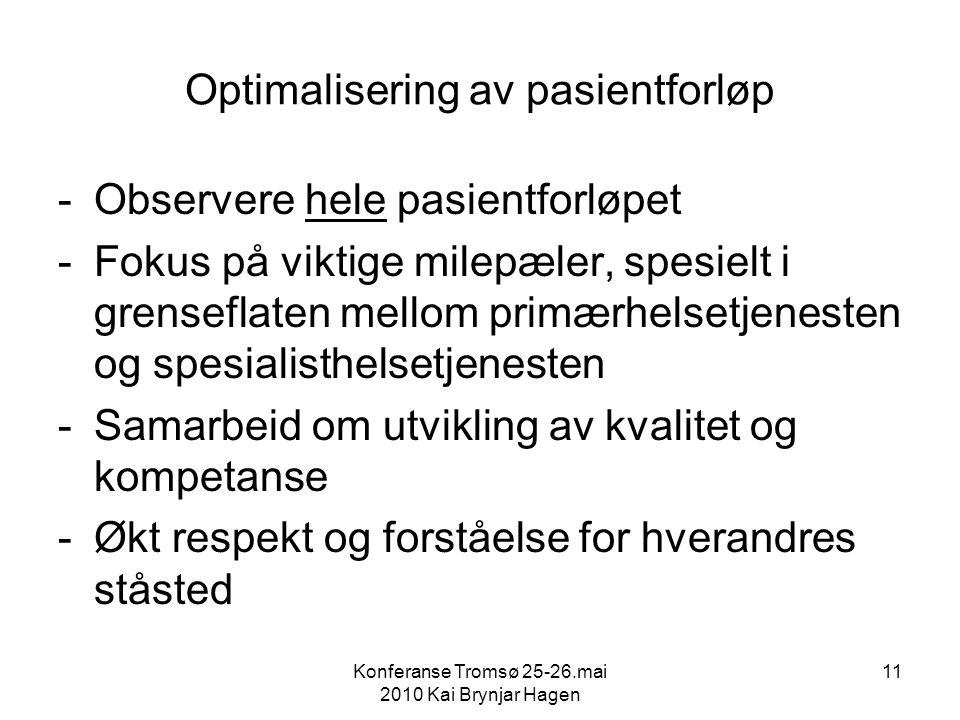Konferanse Tromsø 25-26.mai 2010 Kai Brynjar Hagen 11 Optimalisering av pasientforløp -Observere hele pasientforløpet -Fokus på viktige milepæler, spesielt i grenseflaten mellom primærhelsetjenesten og spesialisthelsetjenesten -Samarbeid om utvikling av kvalitet og kompetanse -Økt respekt og forståelse for hverandres ståsted