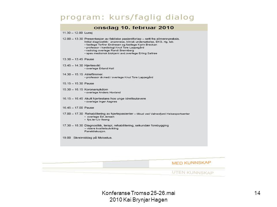 Konferanse Tromsø 25-26.mai 2010 Kai Brynjar Hagen 14