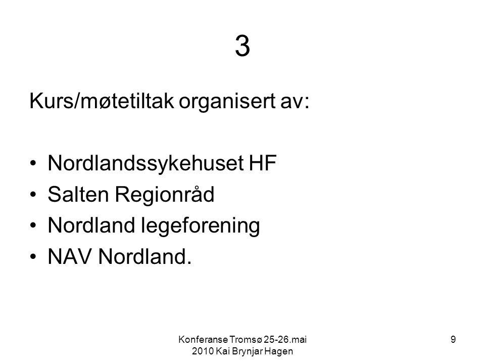 Konferanse Tromsø 25-26.mai 2010 Kai Brynjar Hagen 9 3 Kurs/møtetiltak organisert av: Nordlandssykehuset HF Salten Regionråd Nordland legeforening NAV Nordland.