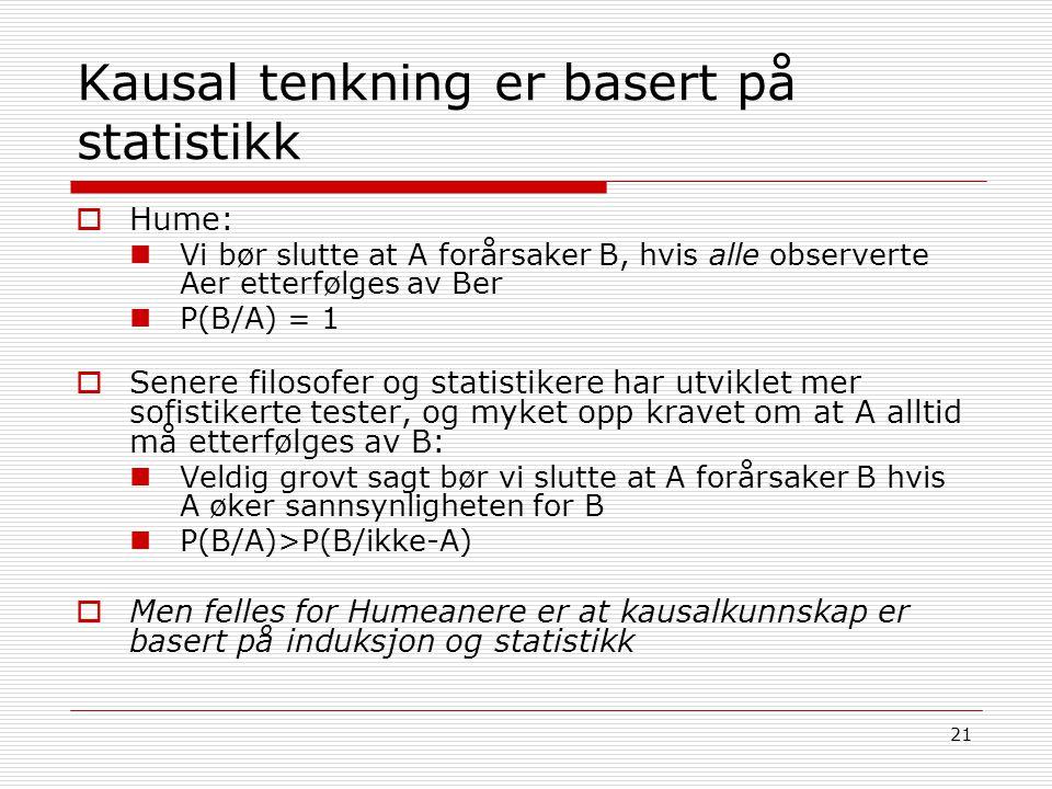 21 Kausal tenkning er basert på statistikk  Hume: Vi bør slutte at A forårsaker B, hvis alle observerte Aer etterfølges av Ber P(B/A) = 1  Senere fi