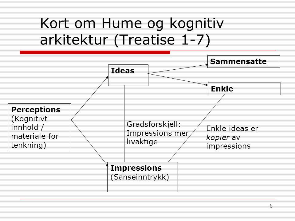 6 Kort om Hume og kognitiv arkitektur (Treatise 1-7) Perceptions (Kognitivt innhold / materiale for tenkning) Ideas Impressions (Sanseinntrykk) Gradsf