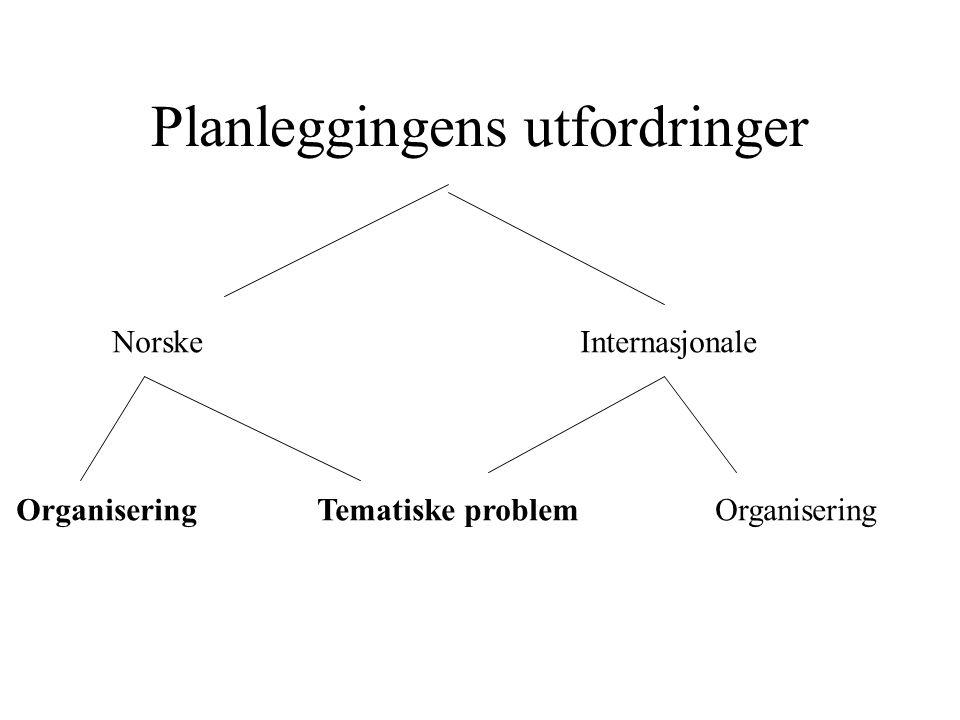 Planleggingens utfordringer Norske Internasjonale Organisering Tematiske problem Organisering